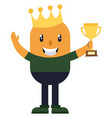 man celebrating victory on white background vector image vector image