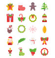 merry christmas decoration ornament icons set vector image vector image