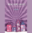 new year retro party flyer with cute street night vector image