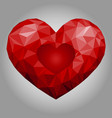 red polygonal heart vector image