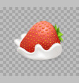 ripe sweet strawberry in tender whipped cream vector image vector image