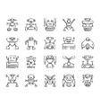 robot charcoal draw line icons set vector image