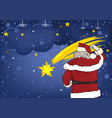 santa claus and christmas star vector image