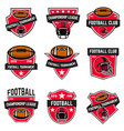 set of american football emblems design element vector image