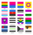 sexual identity gender and lgbt pride flags set vector image