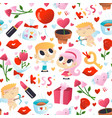 super cute valentines day seamless pattern vector image vector image