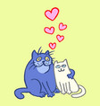sweet enamored cats in yellow and blue colors vector image vector image