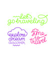 traveling design logos lets go traveling time to vector image
