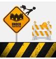 under construction sign barrier road helmet vector image vector image