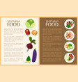 vegetarian food vegetables and healthy dishes vector image vector image
