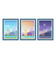 view from windows day time morning evening night vector image vector image