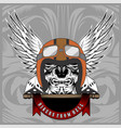 vintage motorcycle skull motorcycle engines and vector image vector image