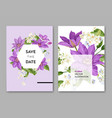 wedding invitation template with flowers and palm vector image vector image