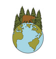 wild bear grizzly with earth planet and forest vector image