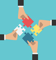 Hands putting puzzles together vector image