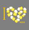 I love beer Symbol heart of steins of beer vector image