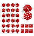 set of isometric dice combination red poker cubes vector image