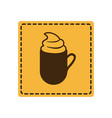 yellow emblem cuppa coffee with cream icon vector image