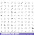 100 experience icons set outline style vector image