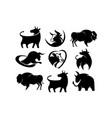 animal bison bull cow farm vector image vector image