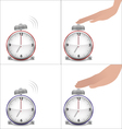 Boy and girl hands and stopped alarm clock vector image vector image