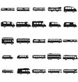 bus set black icon on white vector image