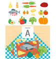 cartoon food with vitamin a vector image