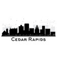 cedar rapids iowa skyline black and white vector image vector image