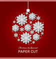 christmas snowflakes paper cut ice winter white vector image