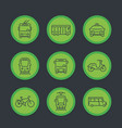 city transport transit van cab bus icons set vector image