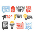 collection of quick tip badges isolated on white vector image vector image