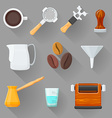 colorful barista equipment set vector image vector image