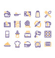 cooking accessories yellow color linear icons set vector image vector image