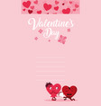 cute hearts couple with roses bouquet characters vector image
