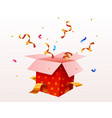cute surprise gift box with falling confetti vector image vector image