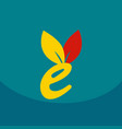e letter eco logo safe leaf icon vector image vector image