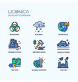 ecology - coloured modern single line icons set vector image vector image