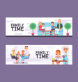 family time set vertical banners vector image vector image