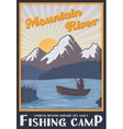 Fishing Camp Near Mountain River Poster vector image