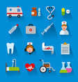 flat color medicine icons vector image vector image