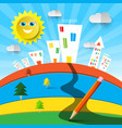funky colorful landscape cartoon with houses and vector image