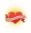 gold heart with ribbon vector image vector image