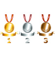 Gold silver and bronze games related set vector image