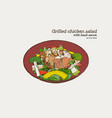 grilled chicken salad with pesto sauce hand draw vector image