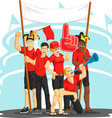 group fans cheering with foam finger vuvuzela vector image