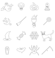 Halloween icons set in outline style vector image