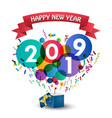 happy new year 2019 celebration with gift box vector image