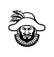 head a medieval minstrel front mascot black vector image vector image