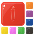 line style carrot icons set 8 colors isolated on vector image vector image