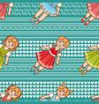 little ballerina cartoon style seamless pattern vector image vector image